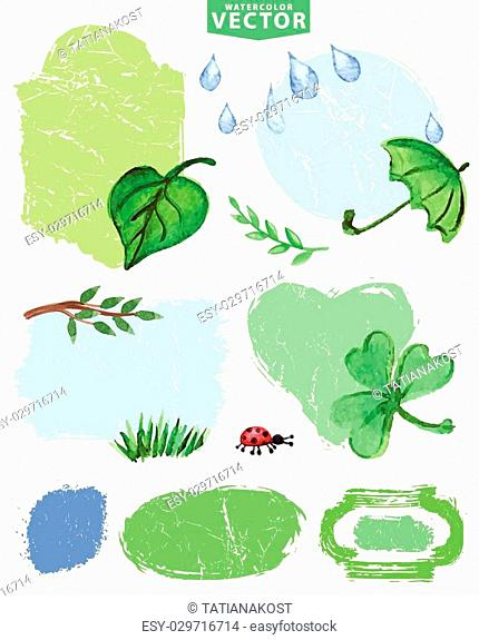 Watercolor leaves , grass,rubber boots,ladybug ,watering can with distressed grunge labels.Seasonal vector , isolated clipart, scrapbooking elements,icons set