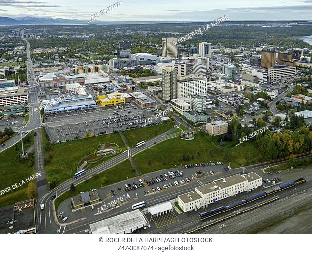 Aerial View of Anchorage. South Central Alaska. United States of America (USA)
