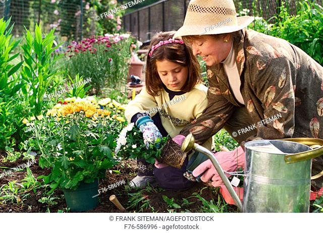 Senior woman planting flowers in garden with her granddaughter