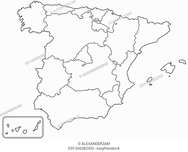 Silhouette contour border map of the Spain. All objects are independent and fully editable. Source of map: http://www.lib.utexas.edu/maps/europe/spain