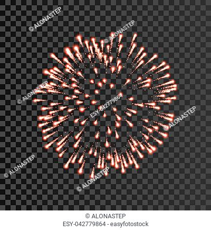 Firework red bursting isolated transparent background. Beautiful night fire, explosion decoration, holiday, Christmas, New Year