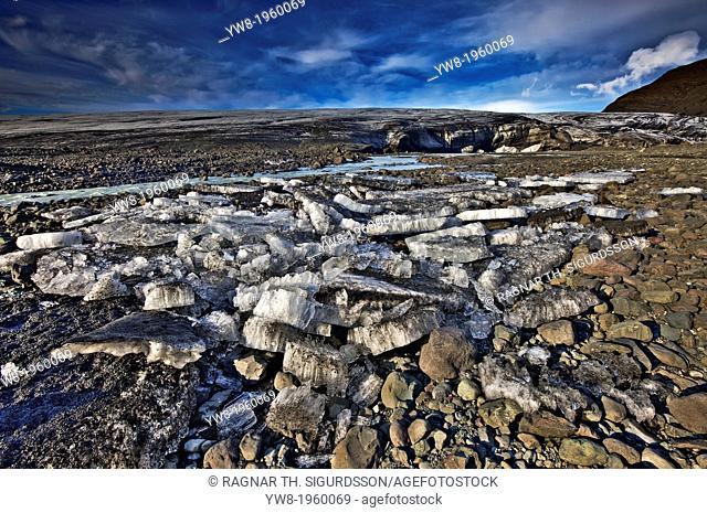 Ice and rock by Breidamerkurjokull, Iceland