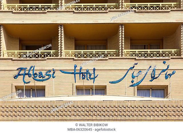 Iran, Central Iran, Esfahan, Abbasi Hotel, exterior sign