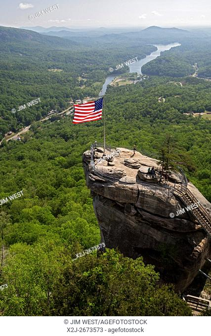 Chimney Rock, North Carolina - Chimney Rock State Park, a tourist attraction featuring a 535-million-year-old rock spire above Lake Lure