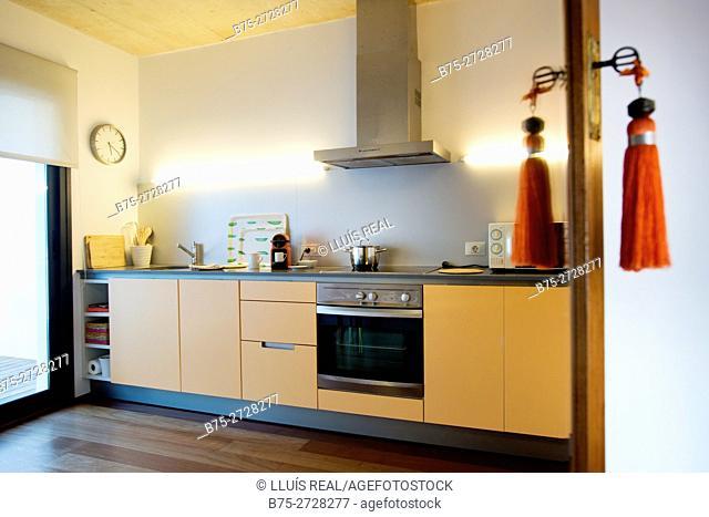 Domestic kitchen. Mahon, Minorca, Balearic Islands, Spain