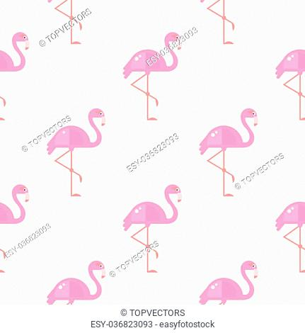 Flamingo Bird Background. Pink Seamless Pattern Vector Illustration Pastel shades background