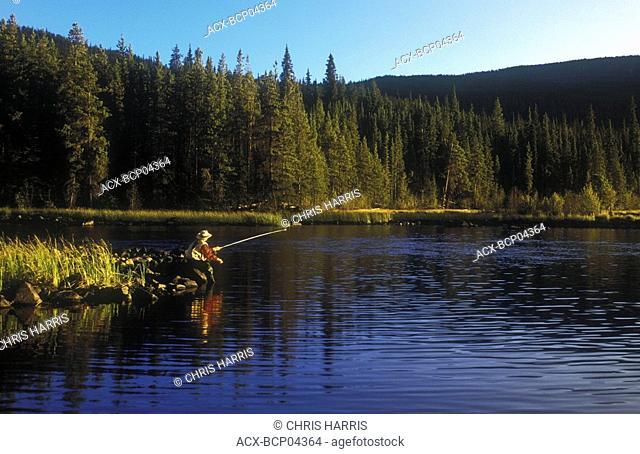 Fly-fishing, Little Charlotte Lake, Chilcotin region, British Columbia, Canada