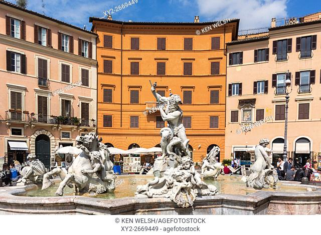 Rome, Italy. Piazza Navona. The Fontana del Nettuno or Fountain of Neptune, at the northern end of the piazza