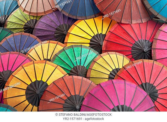 Multicoloured hand made paper umbrellas or parasols,Luang Prabang, Laos