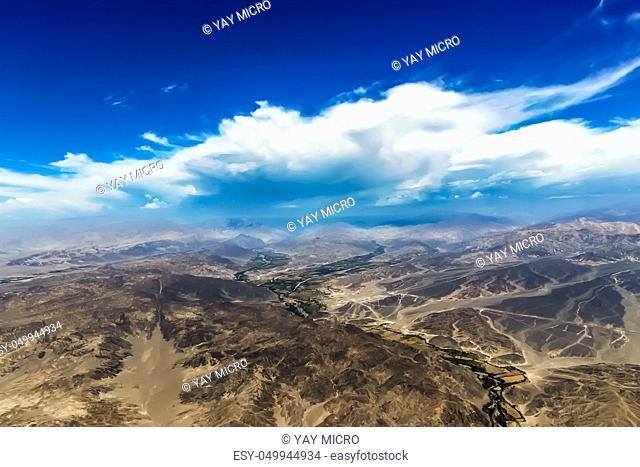 Aerial view of the mountainous terrain of Nazca Desert