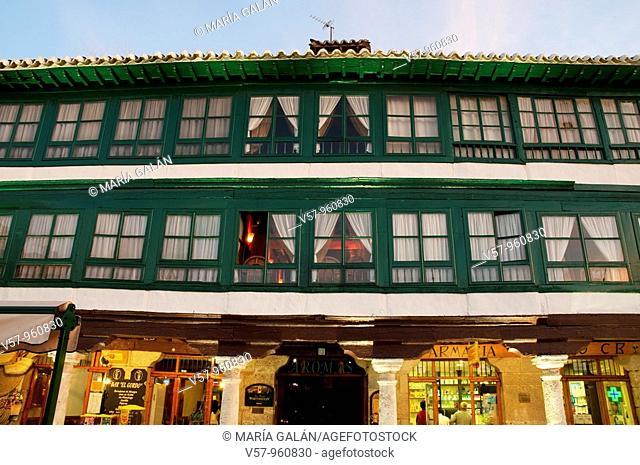 Main Square, detail of facades at evening. Almagro, Ciudad Real province, Castilla La Mancha, Spain