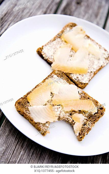 Bread with smoked halibut, Narsaq, South Greenland