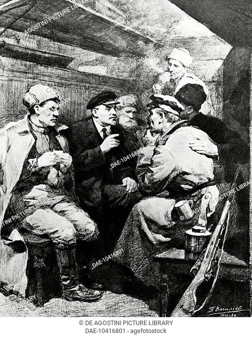 Nikolai Lenin, pseudonym of Vladimir Ilyich Ulyanov (1870-1924), on the road to Petrograd in April 1917 (in sealed one-carriage train)