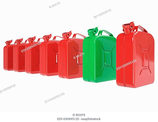 A number of cans, jerrycan for fuel. Canister for gasoline, diesel gas on isolated on white background. High resolution 3d image