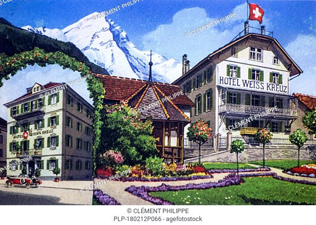 Vintage postcard of the early 20th century showing drawing of Hotel Weiss Kreuz in Swiss holiday destination, Switzerland