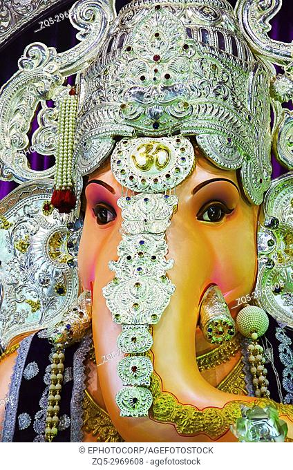 Close up view of an idol of Lord Ganesha, also known as Ganapati or Vinayaka, his image is found throughout India, Sri Lanka, Thailand and Nepal