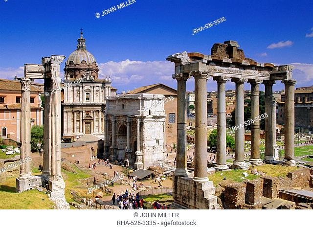 Temple of Saturn and Santi Lucia e Martina, Forum, Rome, Lazio, Italy, Europe