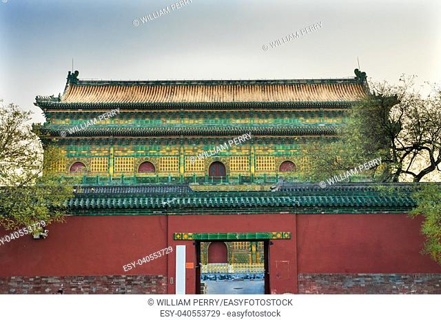 Old Qing Library Archives Boats Beihai Lake Park Jade Flower Island Beijing China Beihai Park is a public park, which was created in 1000AD.
