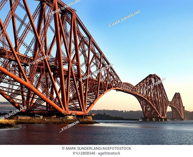 Forth Bridge from South Bay at North Queensferry Fife Scotland