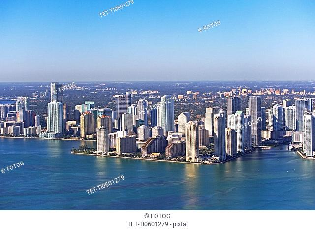 Aerial view of waterfront city