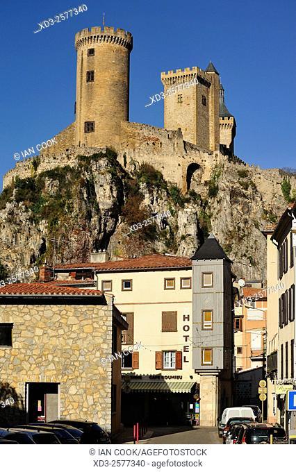 street scene with Chateau de Foix, Foix, Ariege Department, Midi-Pyrenees, France