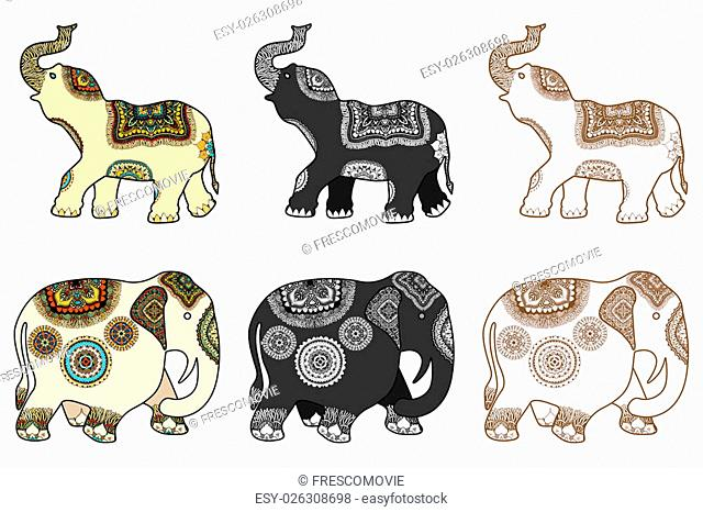 Set of hand-drawn color tattoo doodle with decorated Indian Elephant