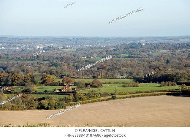 A view of fields and woodland in late autumn with some colourful trees from the Berkshire Downs towards Newbury