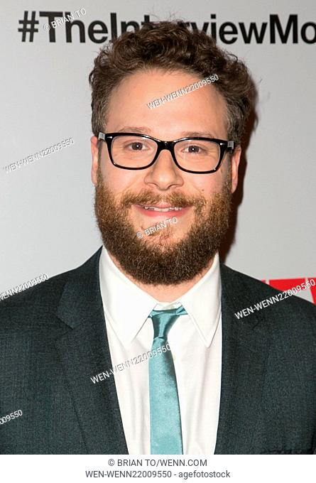 Los Angeles premiere of 'The Interview' at The Theatre at Ace Hotel Downtown LA - Red carpet arrivals Featuring: Seth Rogen Where: Los Angeles, California