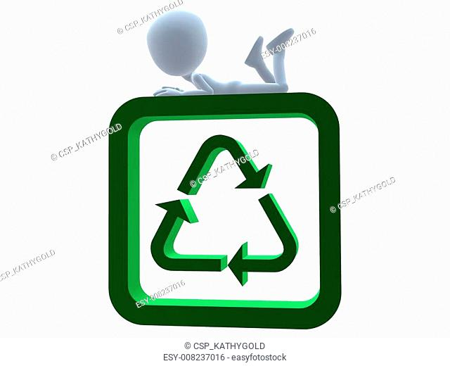 3D Guy With A Recycle Sign
