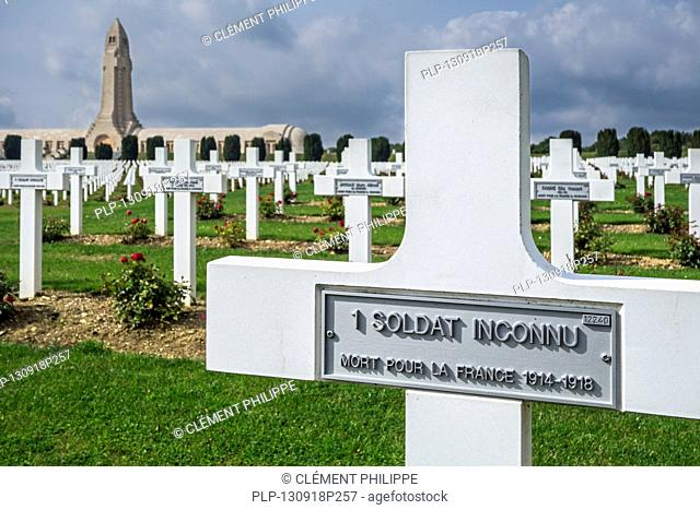 Grave of unknown French soldier at the Douaumont ossuary and military cemetery for First World War One French soldiers who died at Battle of Verdun, France