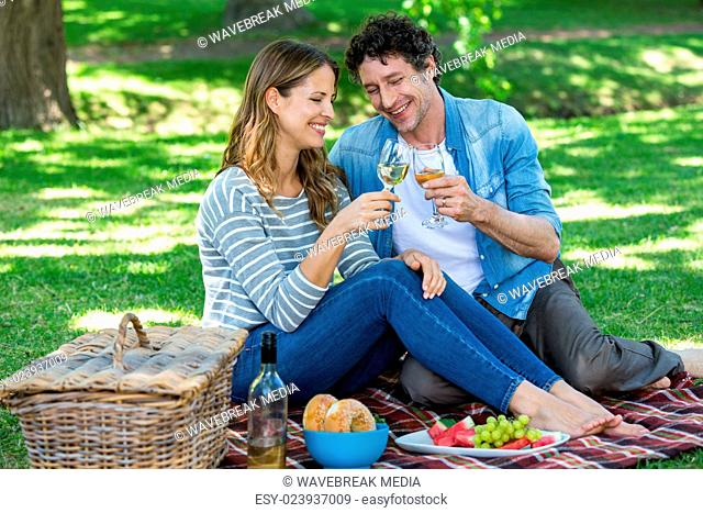 Couple having a picnic with wine