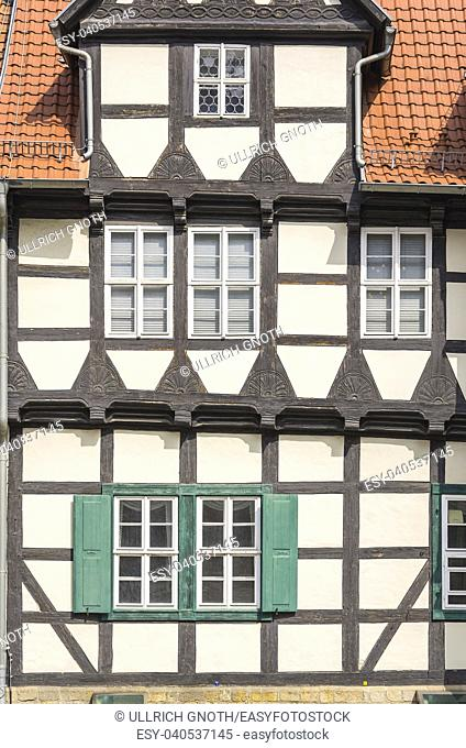 Klopstock Museum and typical half-timbered house at Schlossberg in Quedlinburg, Saxony-Anhalt, Germany