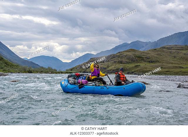 Rafters enjoy the day along the Marsh Fork of the Canning River in the Arctic National Wildlife Refuge, Summer, Alaska