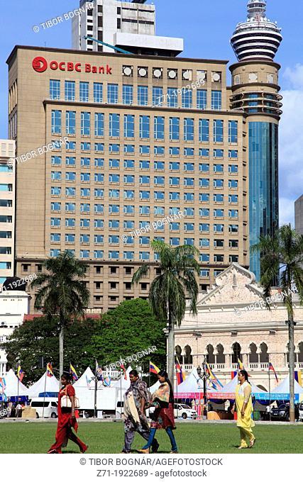 Malaysia, Kuala Lumpur, Merdeka Square, OCBC Bank, people