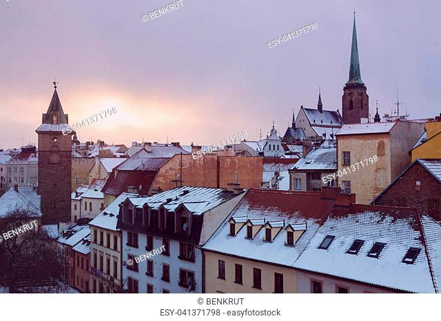 St. Bartholomew Cathedral and Old Water Tower in Pilsen. Pilsen, Bohemia, Czech Republic