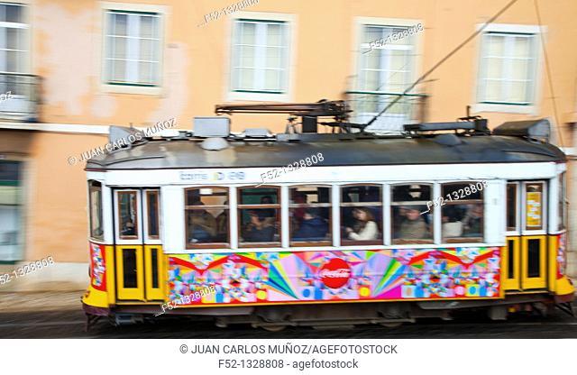 Tram in Alfama district, Lisbon, Portugal