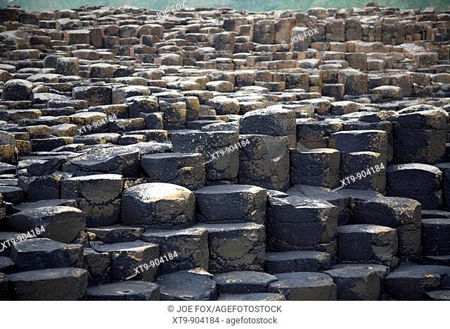 red basalt hexagonal rock formations at the giants causeway county antrim northern ireland uk