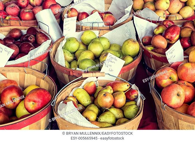 Apples and pears for sale at roadside stand, Oregon