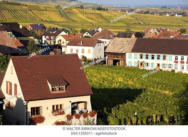 France, Haut-Rhin, Alsace Region, Alasatian Wine Route, Hunawihr, town and vineyards, autumn