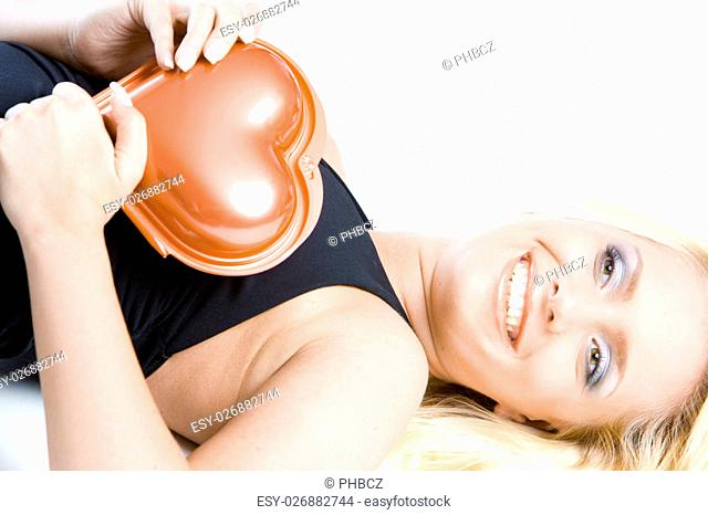 portrait of woman with chocolate box