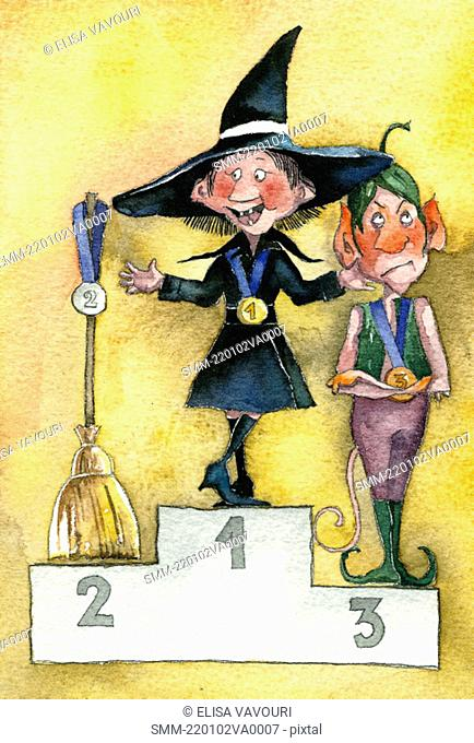 Witch wins first place, broom in second, and elf in third