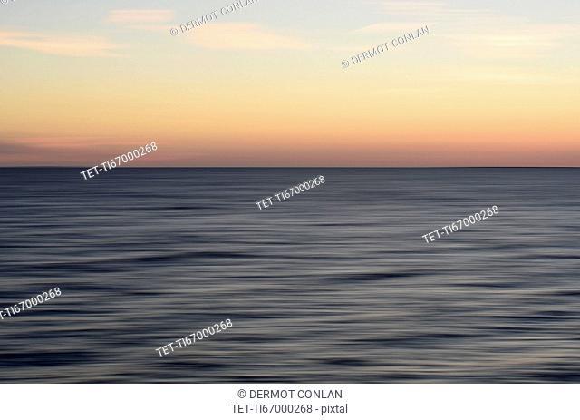 Horizon over water at dusk