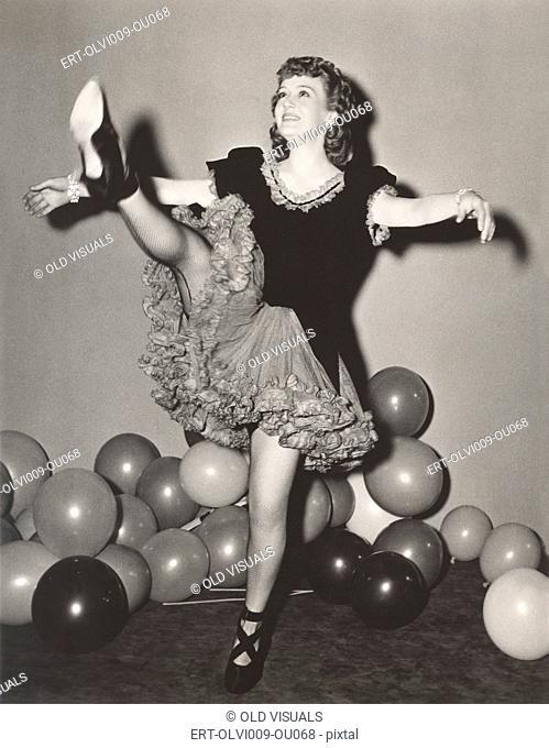 Dancer practicing her high kicks