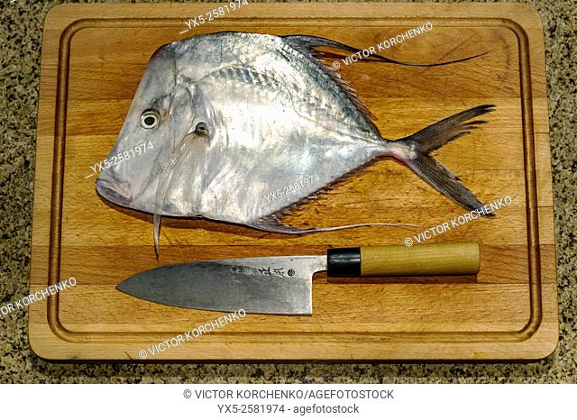 Fresh moonfish on a cutting board