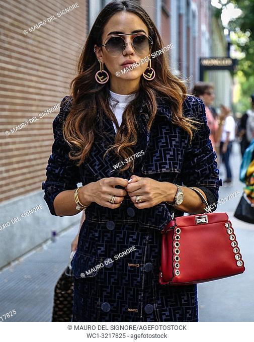 MILAN, Italy- September 20 2018: Tamara Kalinic on the street during the Milan Fashion Week