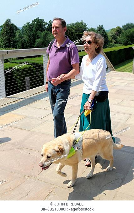 Woman with visual impairments with helper and guide dog in grounds of the Yorkshire Sculpture Park