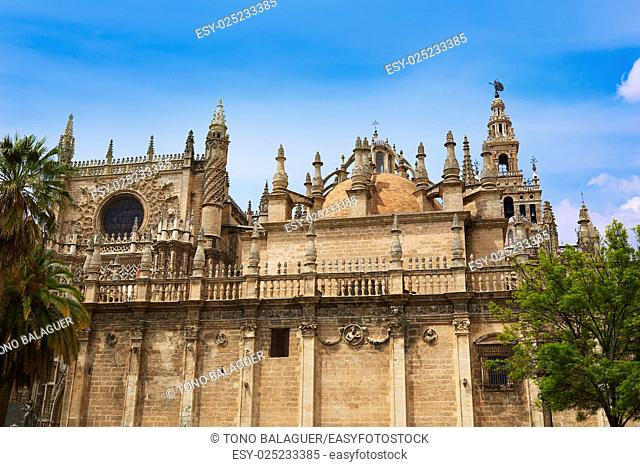 Seville cathedral facade of Sevilla Andalusia Spain