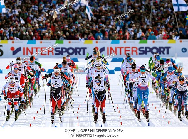 The athletes during the women's 2 x 7.5km cross-country event at the 2017 Nordic World Ski Championships in Lahti, Finland, 25 February 2017