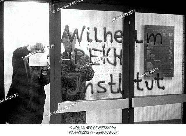 """A closed door with the writing """"""""Wilhelm Reich Institute"""""""". The Institute of Psychology at the University of Hamburg which was occupied by about 200 students..."""