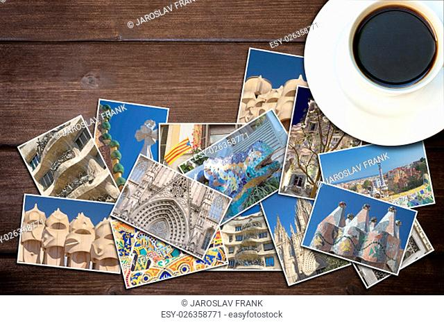 White cup of coffee and photos from Barcelona are lying on a wooden desk. Photo is edited as vintage with dark edges